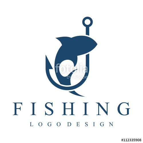 500x500 Fishing Logo, Hook, Fishing Rod, Simple Design Logo Template