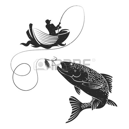 450x450 Fish Jumping For Bait And Fishing Rod Silhouette Royalty Free