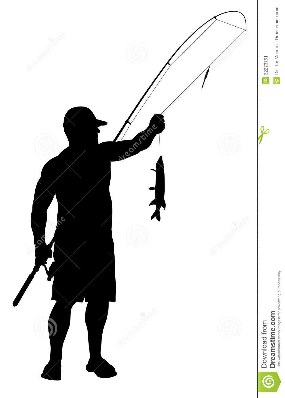 930x1300 Man Fishing Silhouette Clipart