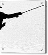 163x186 Silhouette Of A Fisherman Holding A Fishing Pole Bw Photograph By