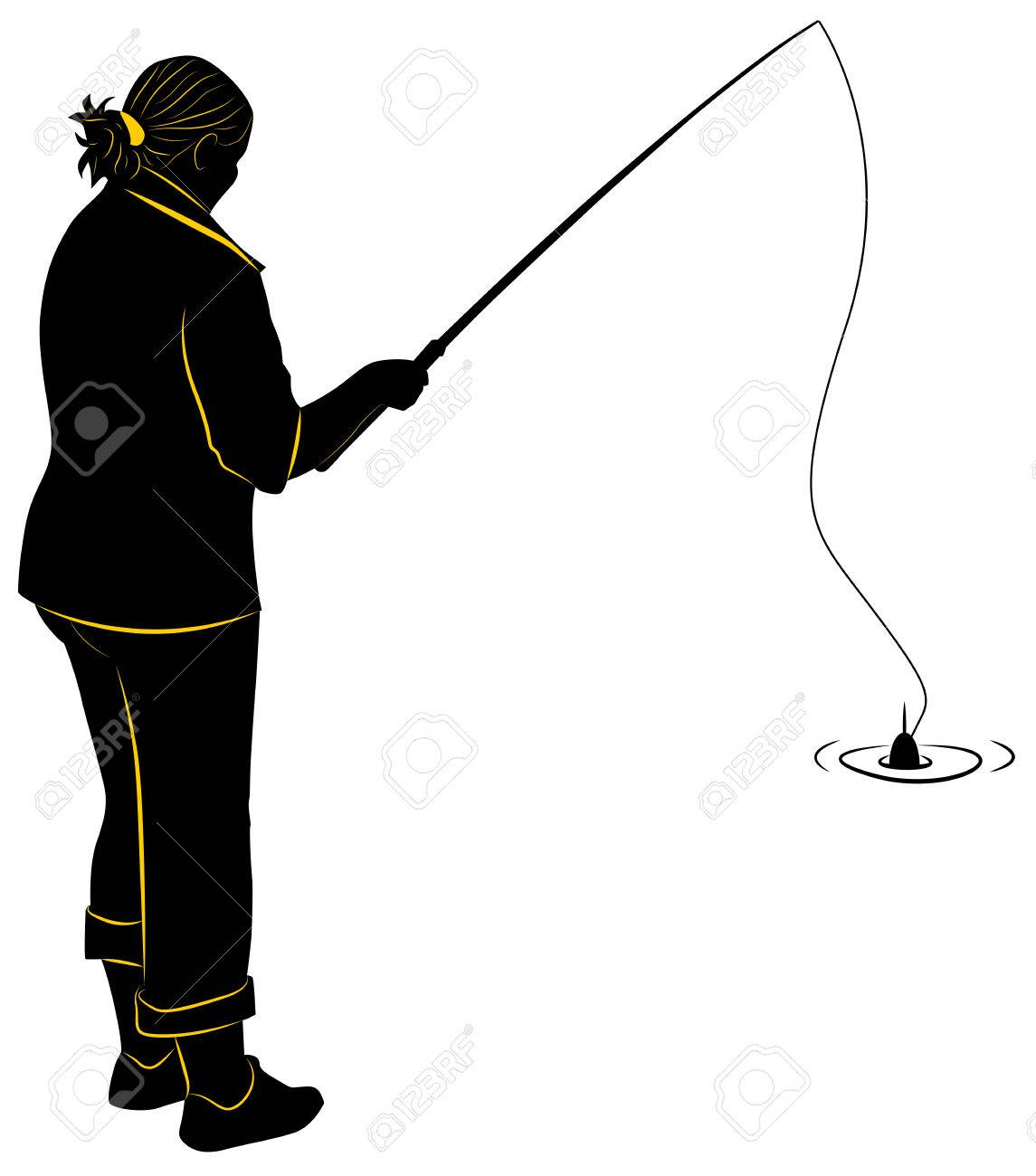 1145x1300 Silhouette Of The Girl With A Fishing Rod Royalty Free Cliparts