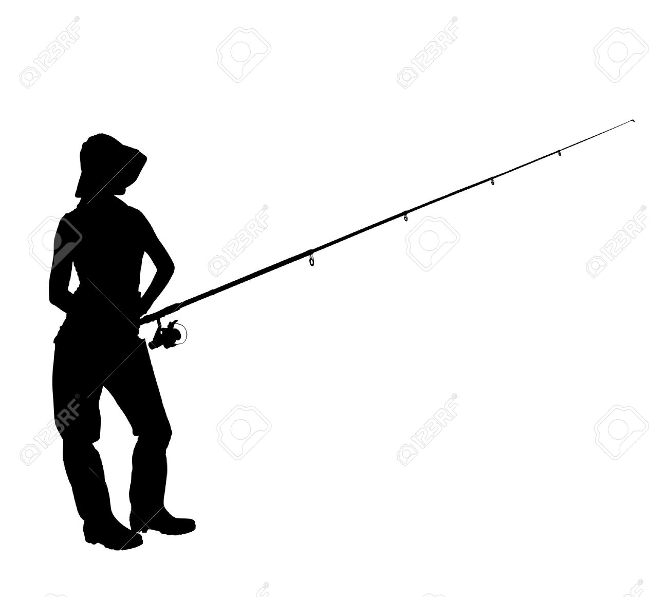 1300x1161 A Silhouette Of A Fisherwoman Holding A Fishing Pole Isolated