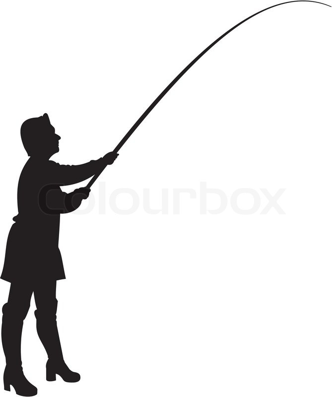 669x800 Silhouette Of Woman In Fishing. Stock Vector Colourbox