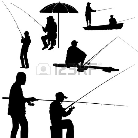 450x450 Vector Lake Fishing Fisherman Silhouette Background Illustration