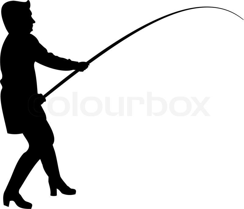 800x685 Vector Silhouette Of Woman In Fishing. Stock Vector Colourbox