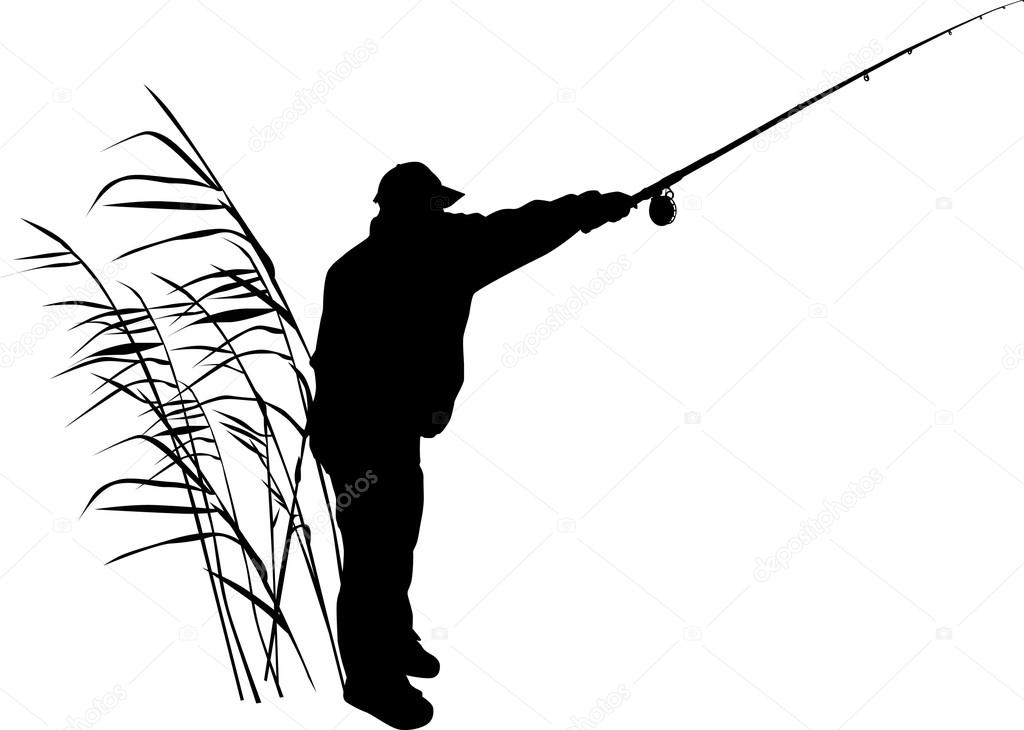 1024x730 Silhouette Of Fisherman In Reed Stock Vector Dr.pas