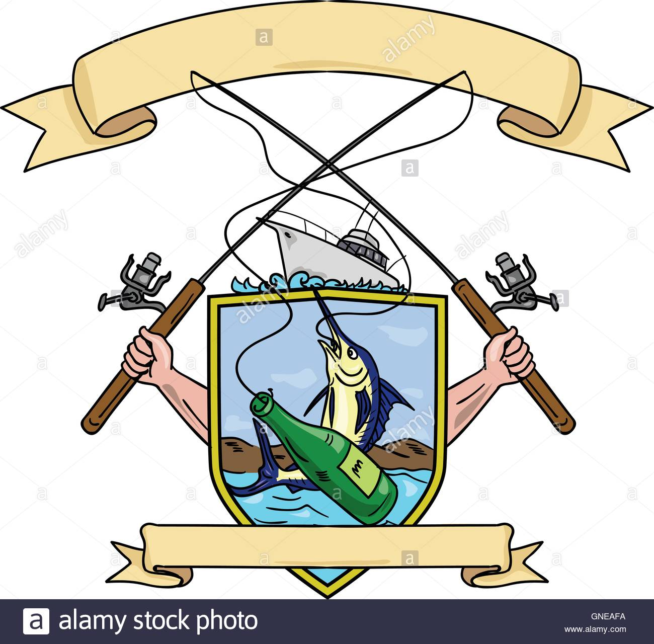 1300x1280 Fishing Rod Reel Blue Marlin Fish Beer Bottle Coat Of Arms Drawing