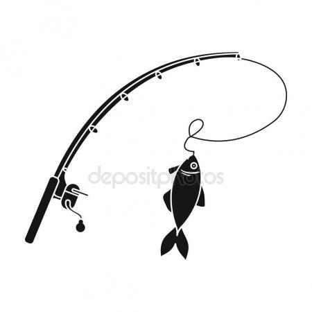 450x450 Fishing Rod And Fish Icon In Black Style Isolated On White