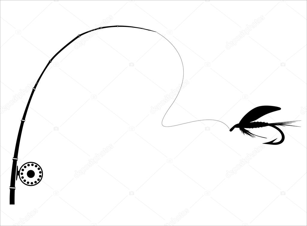 1023x755 Fishing Rod On The White Backdrop. Stock Vector Djemphoto