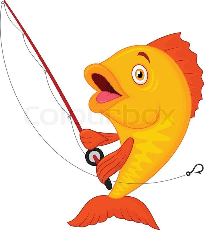 710x800 Vector Illustration Of Cute Cartoon Fish Holding Fishing Rod