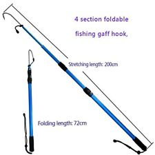 225x225 Aluminium Alloy Fishing Gaffs Retractable Stainless Steel Hook