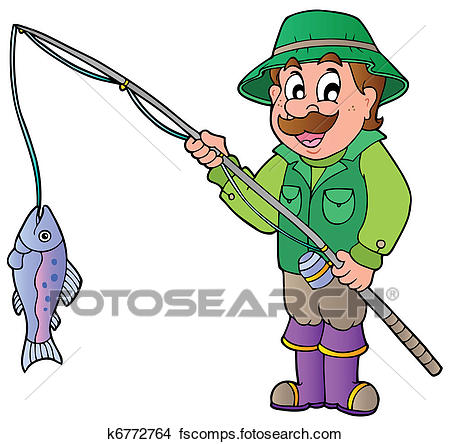 450x444 Clipart Of Cartoon Fisherman With Rod And Fish K6772764