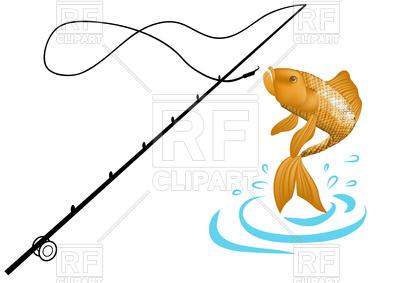 400x283 Fishing Rod And Fish Royalty Free Vector Clip Art Image