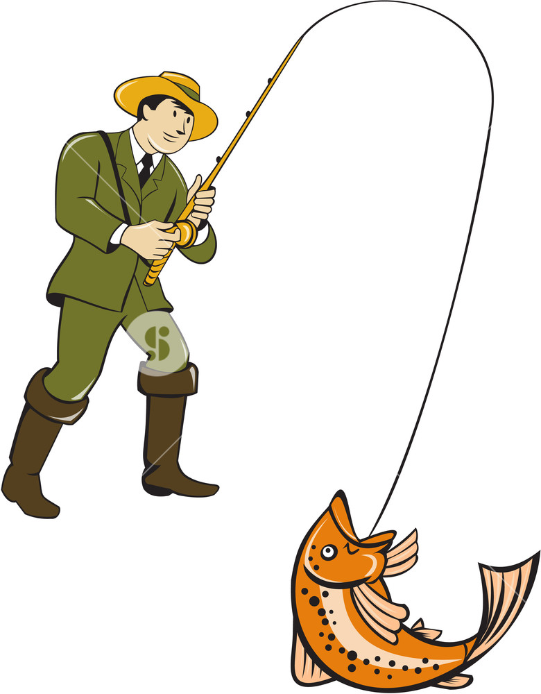 780x1000 Illustration Of A Fly Fisherman Wearing Hat With Fly Rod And Reel