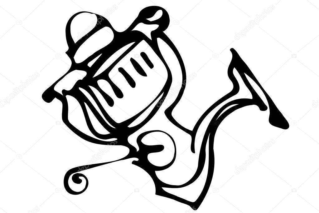 1023x682 Vector Sketch Of Fast Response Fishing Reels Stock Vector