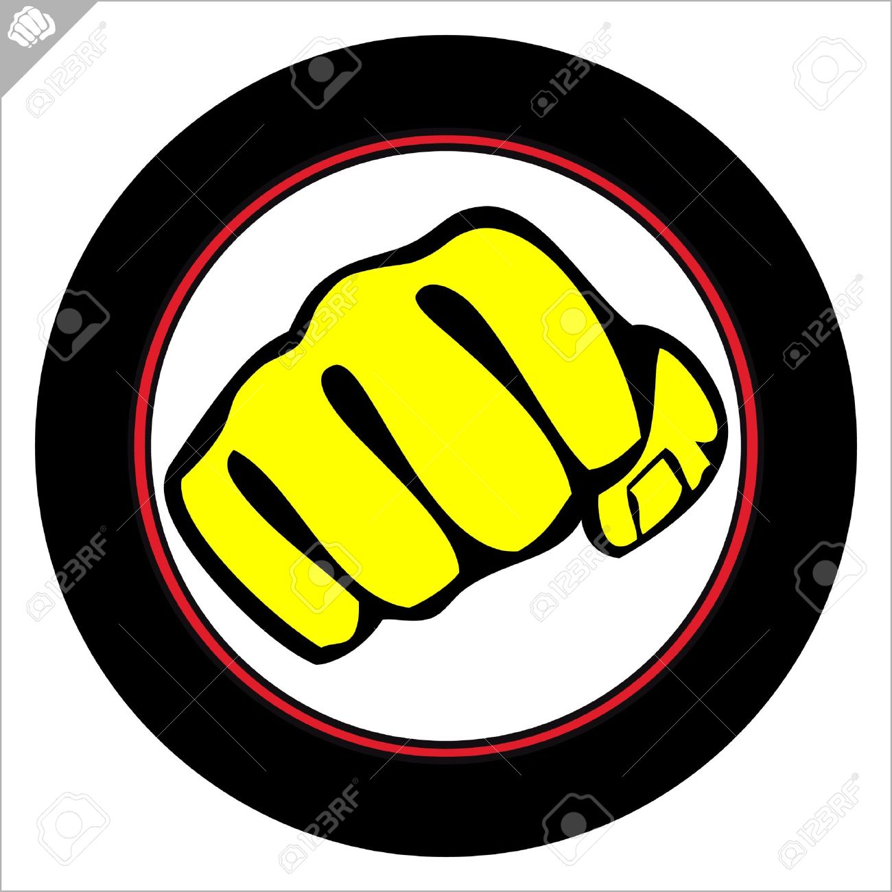 1300x1300 Fist Poster. Martial Arts Colored Emblem, Symbol. Karate Style