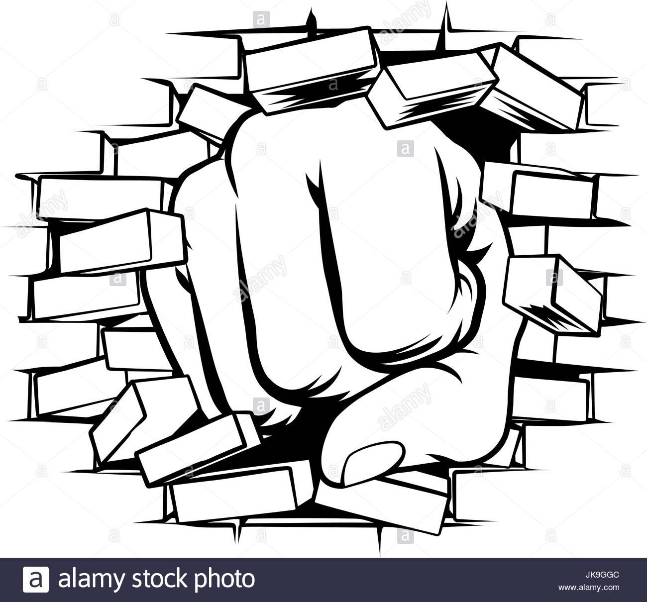 1300x1210 Fist Punching Through Brick Wall Stock Vector Art Amp Illustration