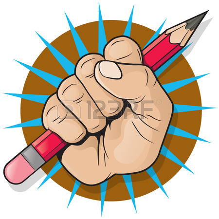 450x450 Revolutionary Punching Fist And Pencil Sign. Great Illustration