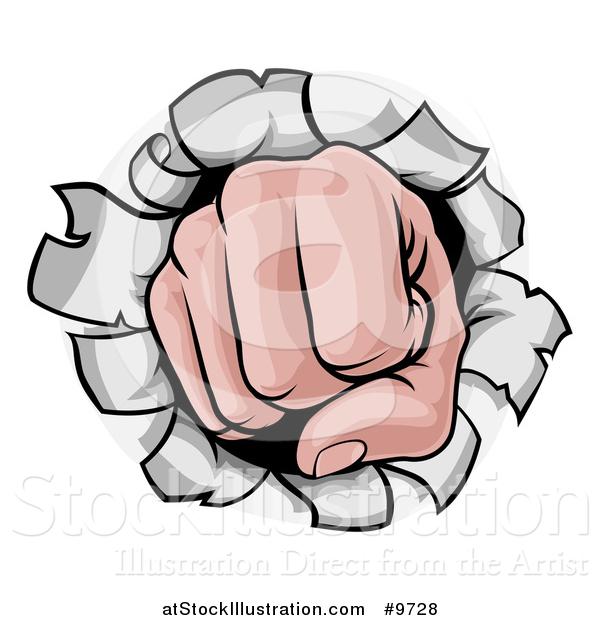 600x620 Vector Illustration Of Cartoon Fist Punching Hole Through