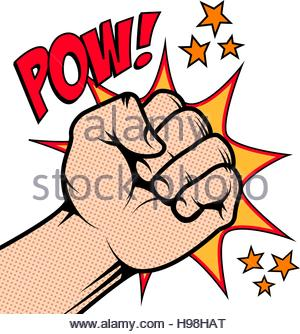 300x334 Cartoon Fist Punching In A Pop Art Comic Book Style Stock Photo