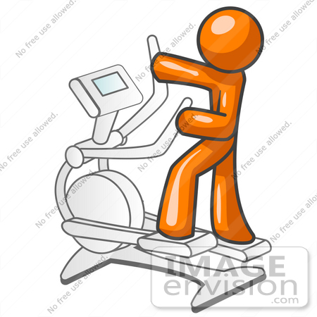 450x450 Clip Art Graphic of an Orange Guy Character Getting Exercise On An