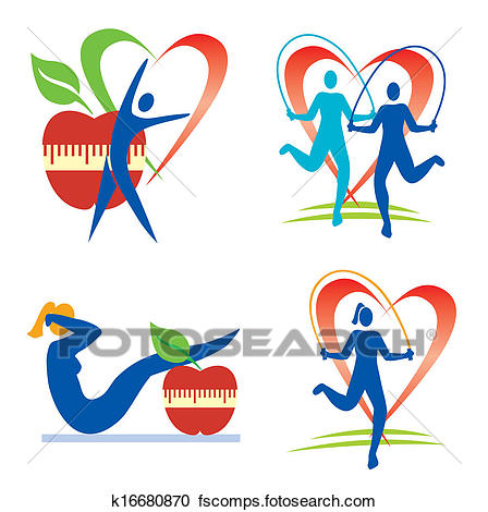 448x470 Clipart of Fitness health icons k16680870