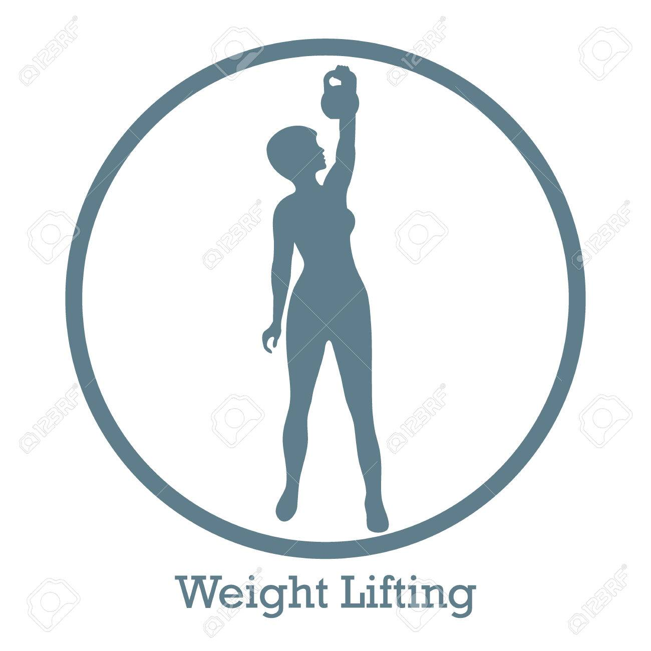 1300x1300 Stylized Icon Of Fitness Sport Athletic Woman Holds Kettlebell