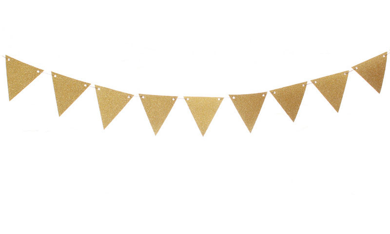 800x480 Gold Glitter Pennant Flag Banner Garland