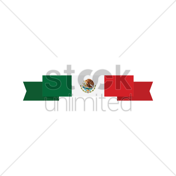600x600 Mexican Flag Banner Vector Image