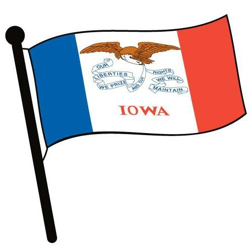 500x500 Iowa Waving Flag Clip Art