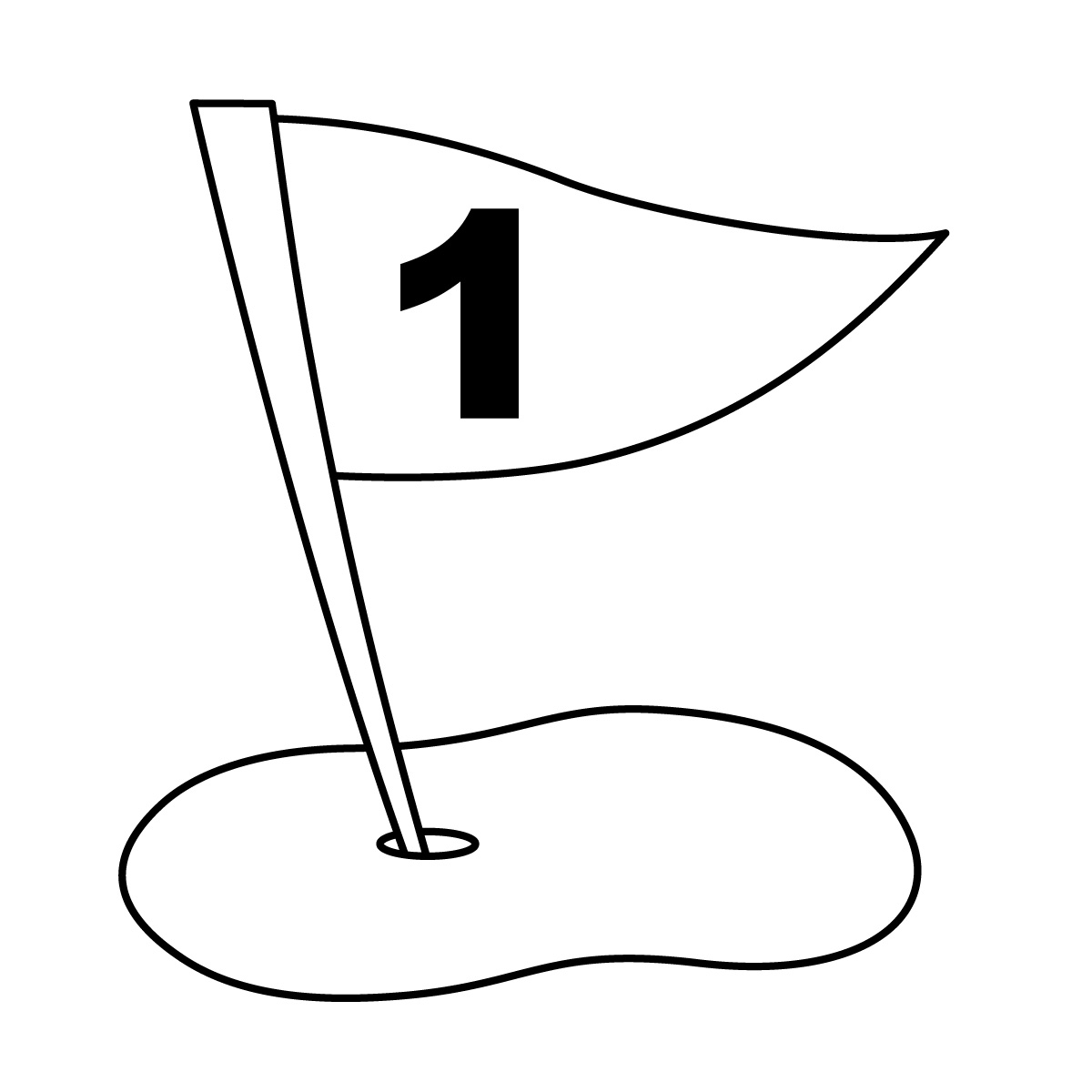 1200x1200 Black And White Golf Flag Clipart