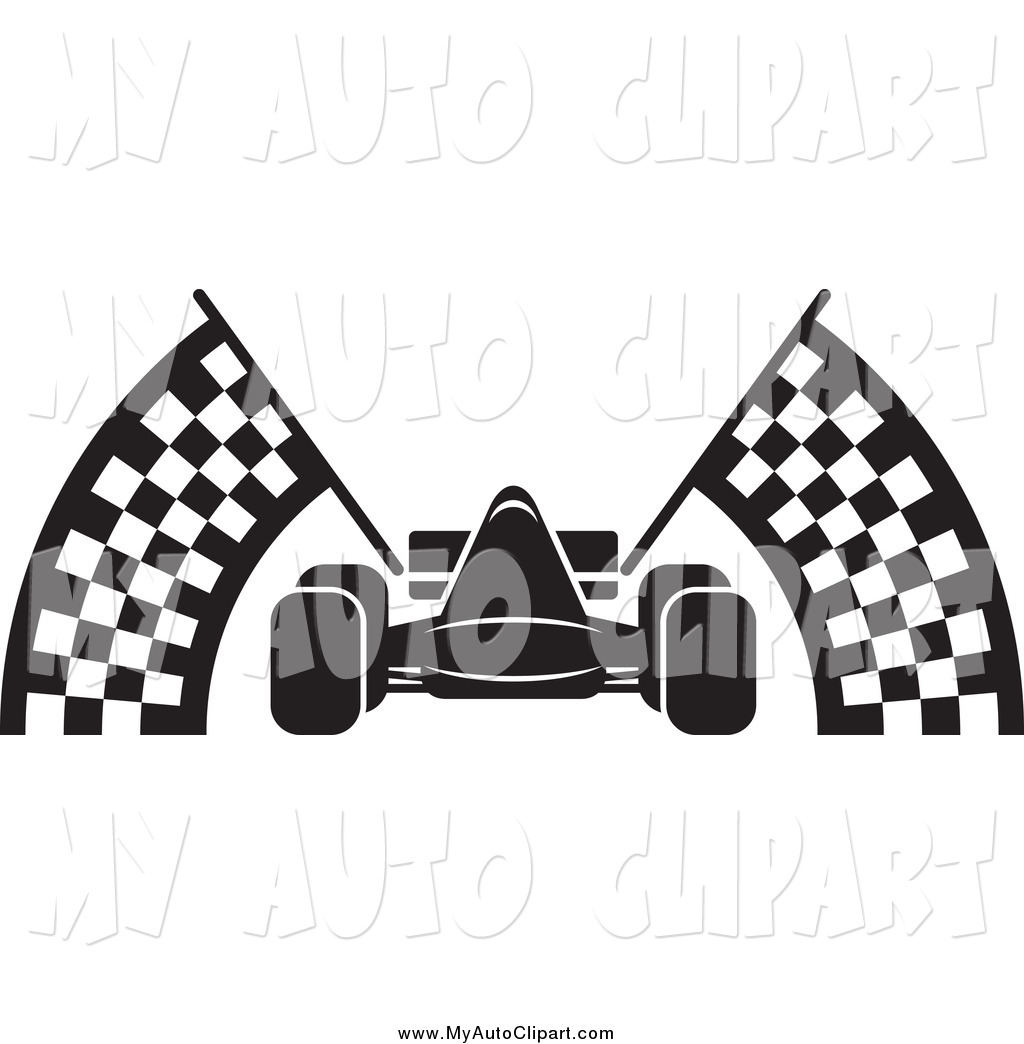 1024x1044 Clip Art Of A Black And White Race Car And Checkered Flags By Lal