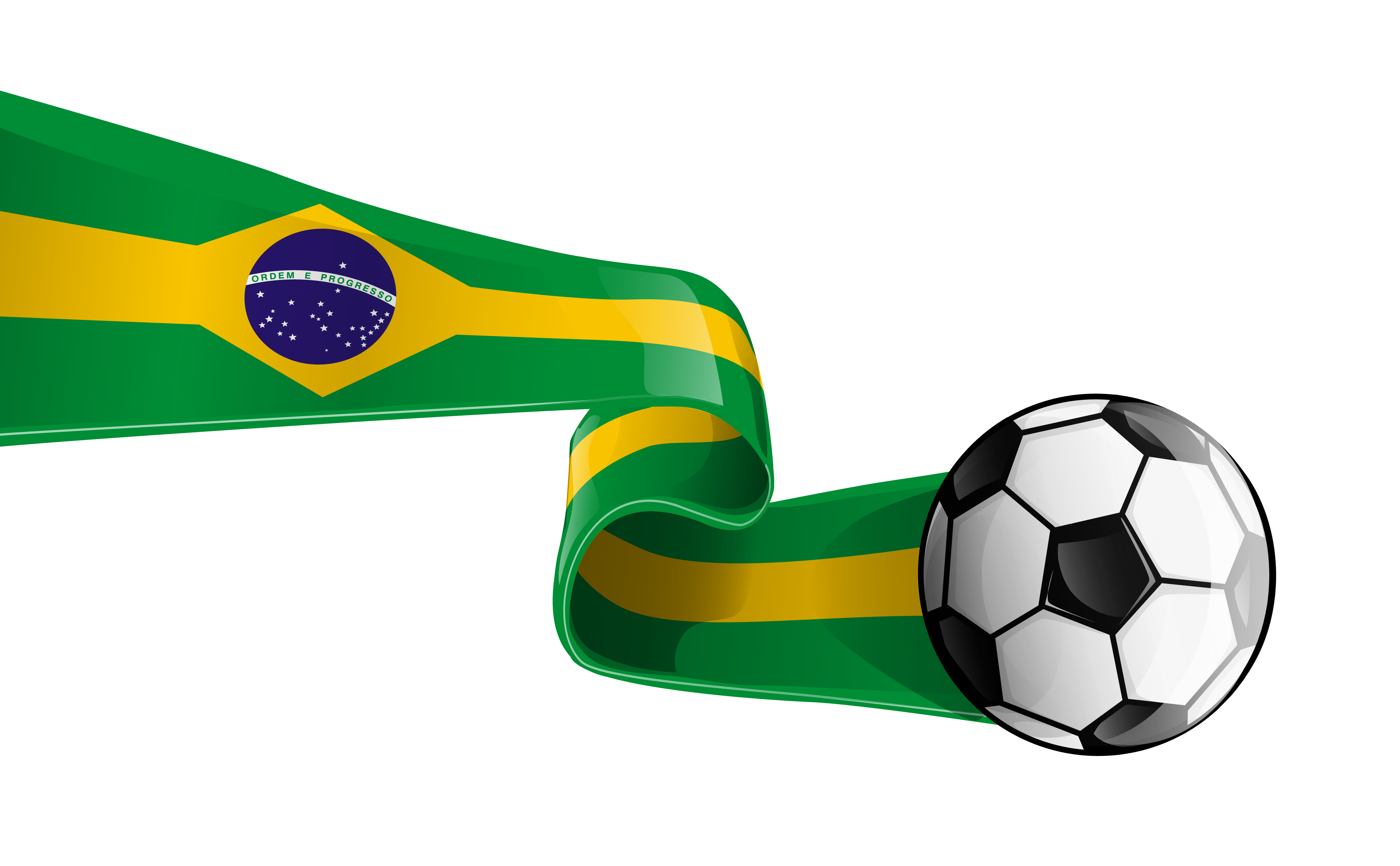 4582x2836 Soccer Ball with Brazilian Flag Transparent PNG Clipart Picture