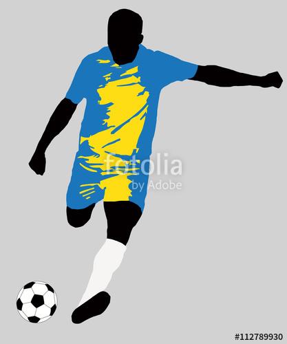 417x500 UEFA Euro 2016 vector illustration of football player run hit ball