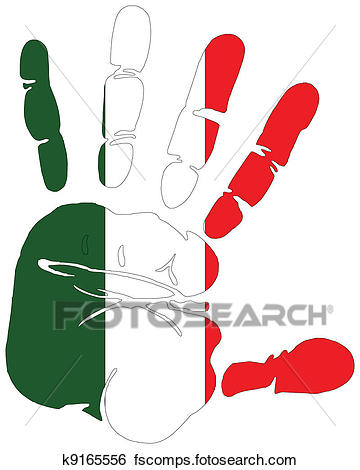 360x470 Clip Art Of Flag Of Italy Hand Print K9165556