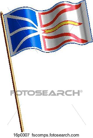 319x470 Clip Art Of Newfoundland Flag, Waving 16p0307