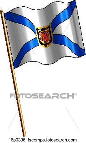 285x470 Clip Art Of Nova Scotia Flag, Waving 16p0336