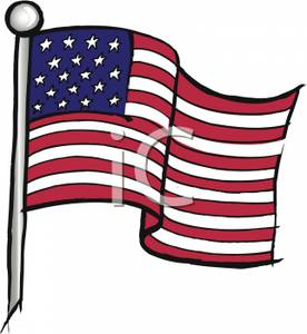 276x300 American Flag On A Pole Waving Patriotically