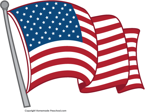 510x393 Free Clipart American Flag Waving