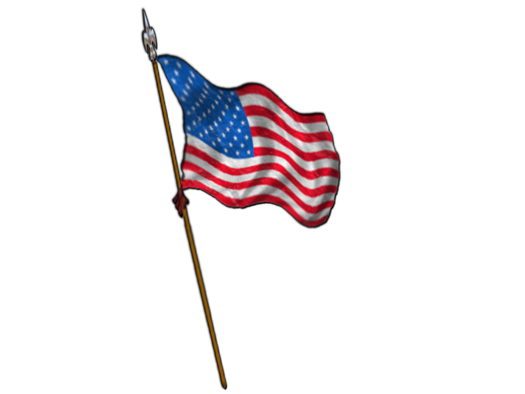 1024x768 American Flag Waving Clipart 3
