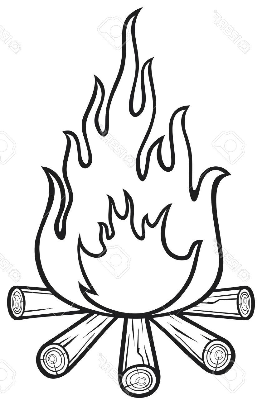 Black And White Drawings Of Cartoon Campfires Pictures To