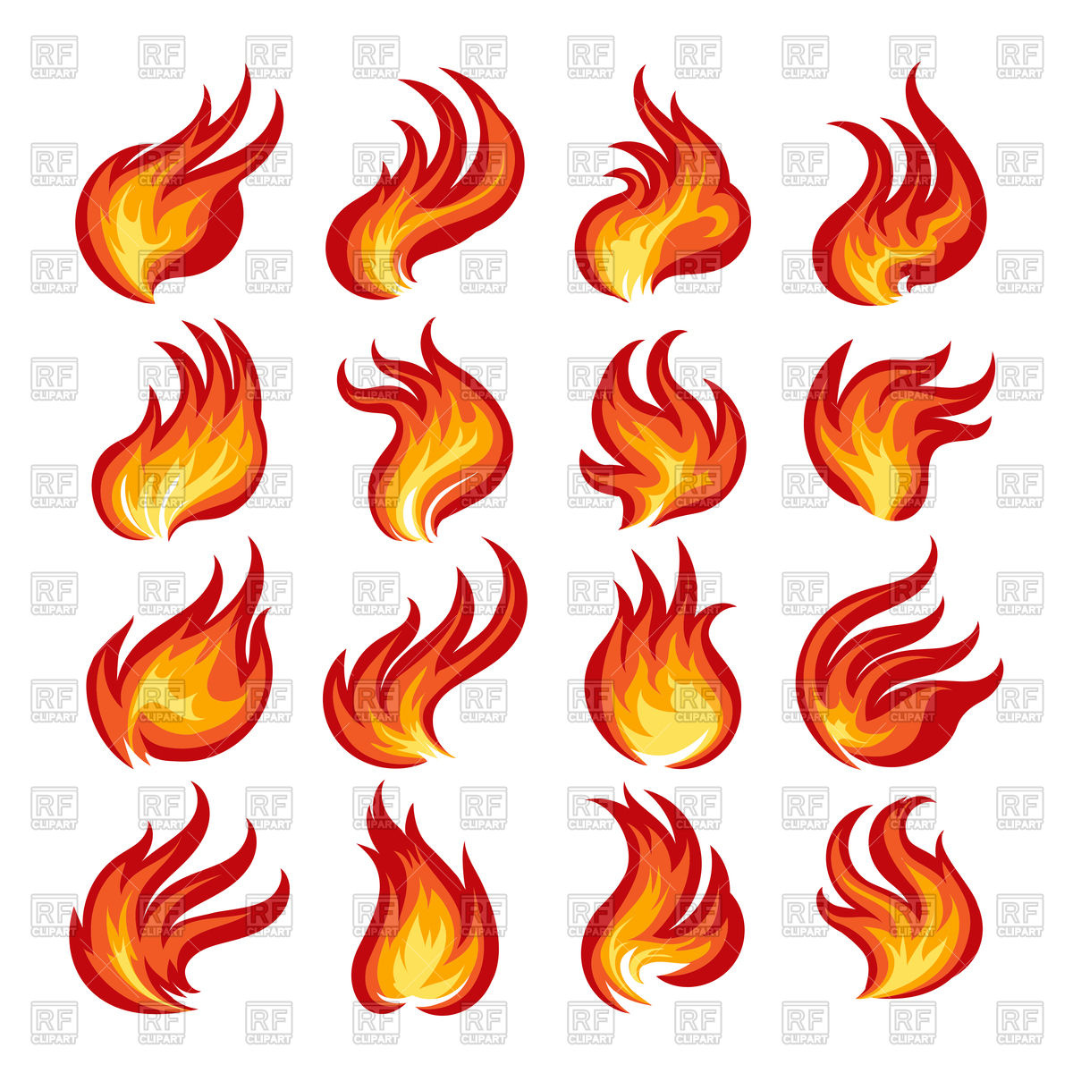 1200x1200 Colorful Fire Flames Set Royalty Free Vector Clip Art Image