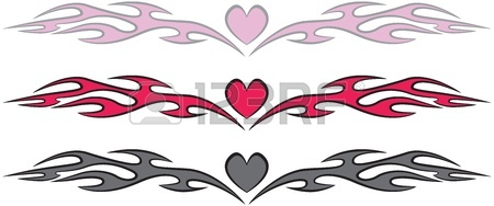 450x188 Fire Flames And Heart Tattoo Style Royalty Free Cliparts, Vectors