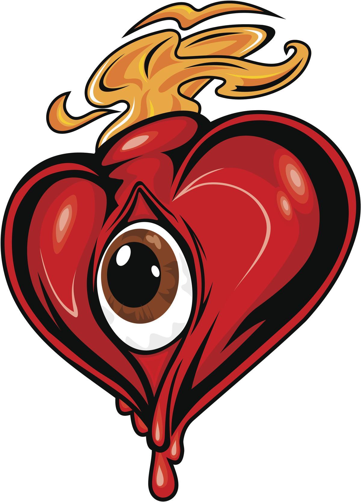 1200x1667 Flaming Heart Tattoo
