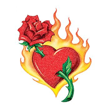 350x350 Glitter Flaming Heart And Red Rose Temporary Tattoo.