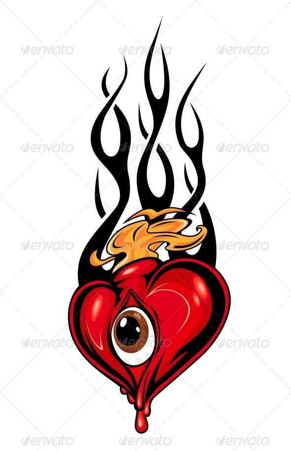 590x914 Heart Tattoo Or Mascot With Eye And Tribal Flames By Seamartini