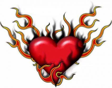 425x337 Love Heart Flaming Free Tat Tattoo From Itattooz
