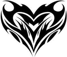236x201 Simple Heart Shaped Tribal Tattoo Design Ideas