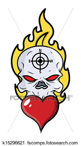 261x470 Clipart Of Skull Tattoo With Flame And Heart K15296621