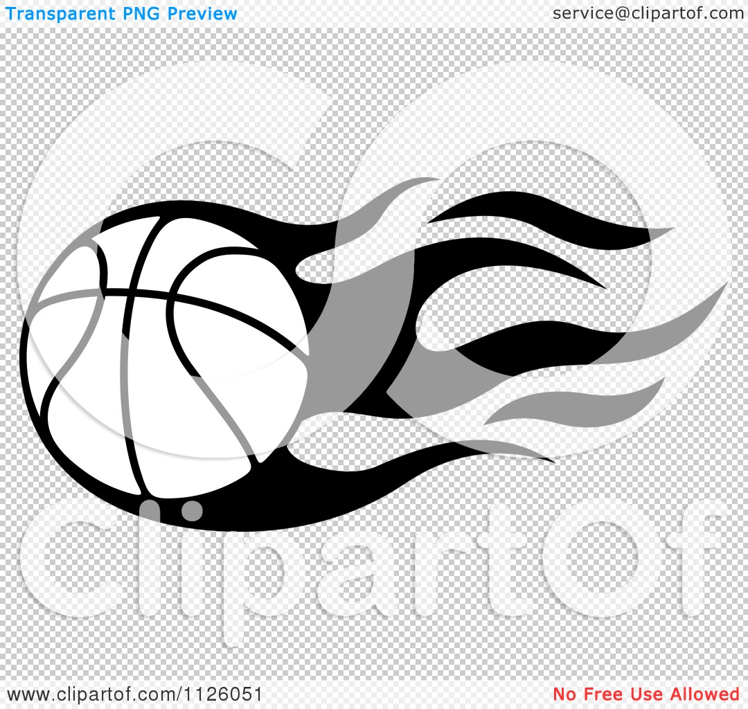 1080x1024 Clipart Of A Black And White Tribal Flaming Basketball 1